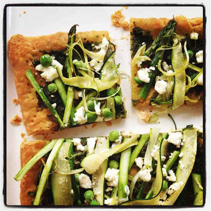 beet green tart with spring vegetables
