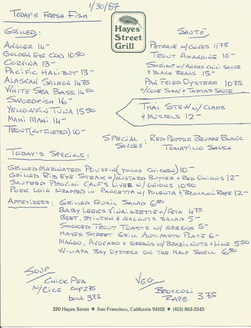 hayes street grill menu 1987