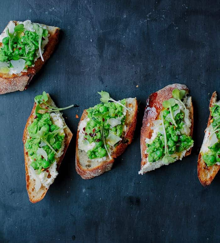 smashed peas on toast