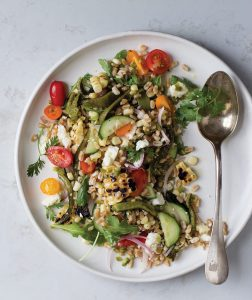 summer garden salad with farro