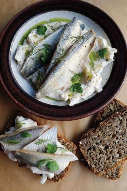 pickled herring from Bar Tartine San Francisco