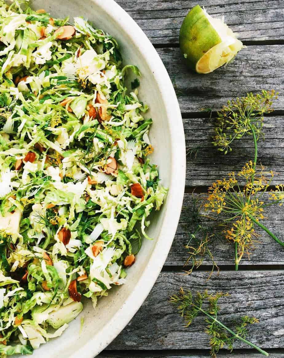 sliced brussels sprout salad with dill