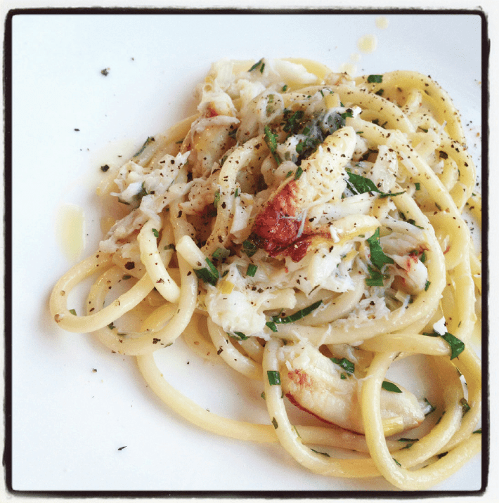 bucatini with dungeness crab