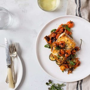 Pan-Seared Halibut with Roasted Ratatouille