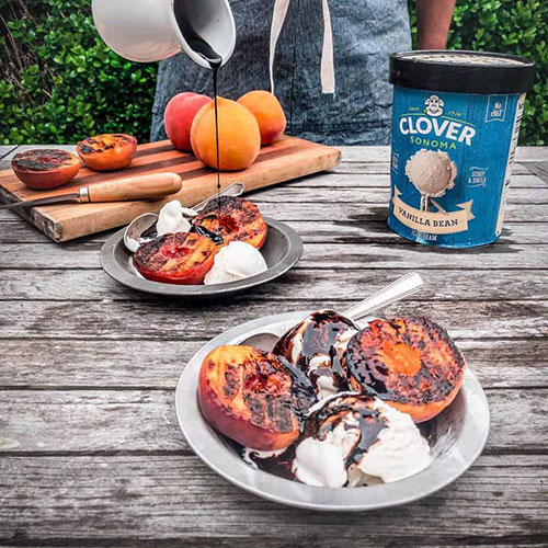 clover ice cream grilled peaches