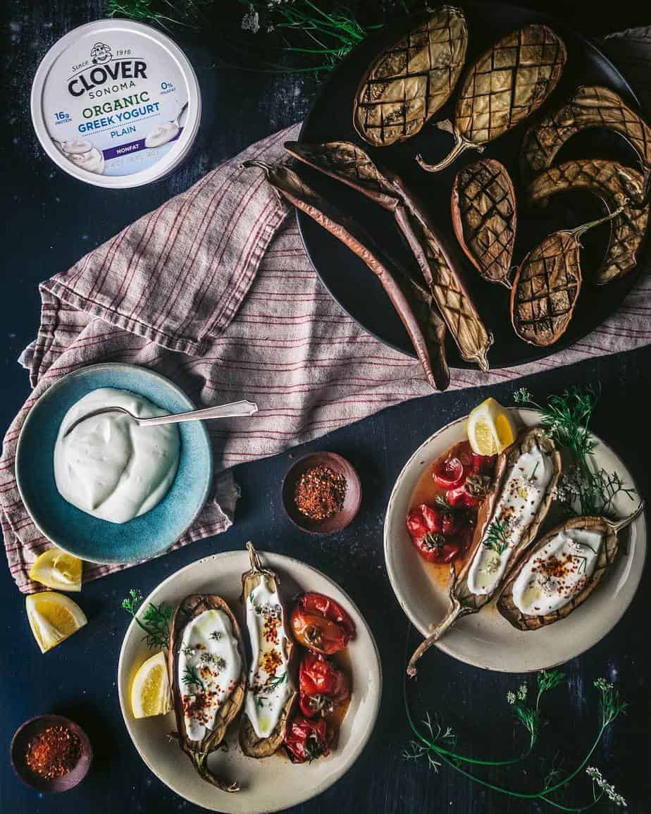 roasted eggplant with savory yogurt