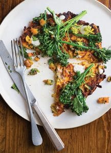 Sweet Potato Pancakes with Dried Apricot Salsa Verde and Sprouted Broccoli