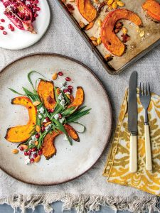 kabocha squash salad with chevre and pomegranate