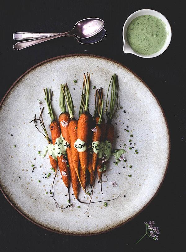 roasted carrots with cilantro yogurt