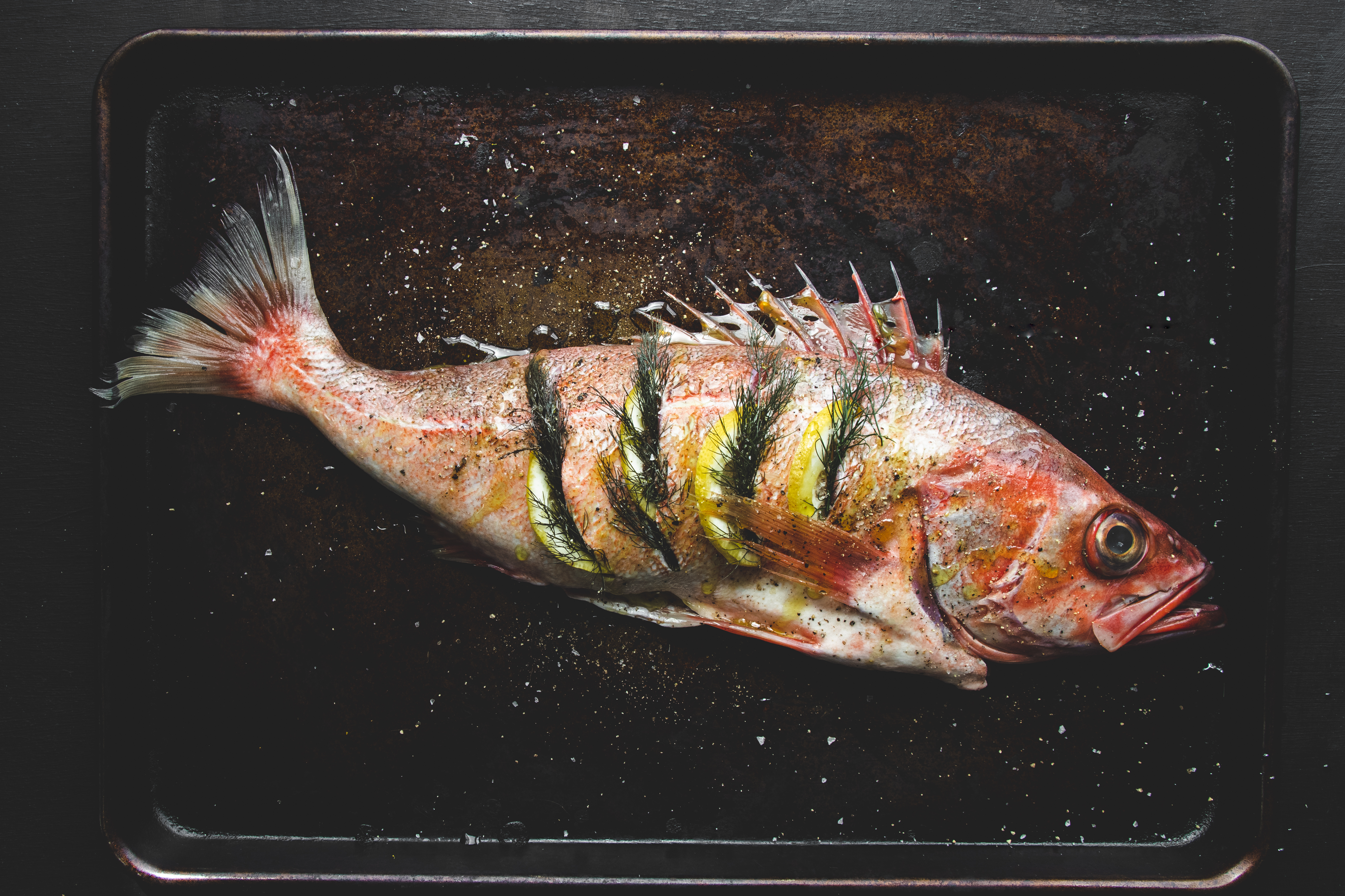 chili pepper rockfish stuffed with lemon and fennel