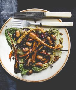 Roasted Blackberry Salad with Parsnips, Carrots and Beans
