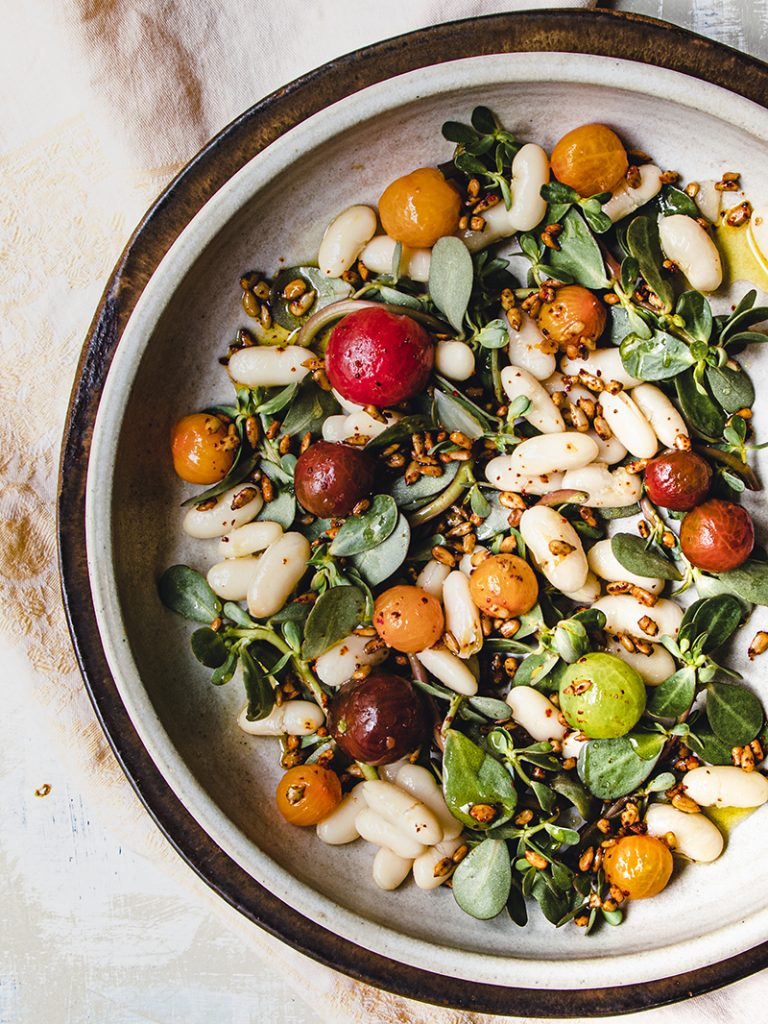 shell bean salad with purslane and cherry tomatoes