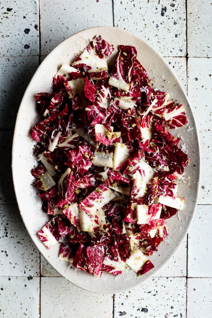 radicchio salad with Castelvetrano olives