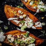 baked sweet potatoes with maple creme fraiche