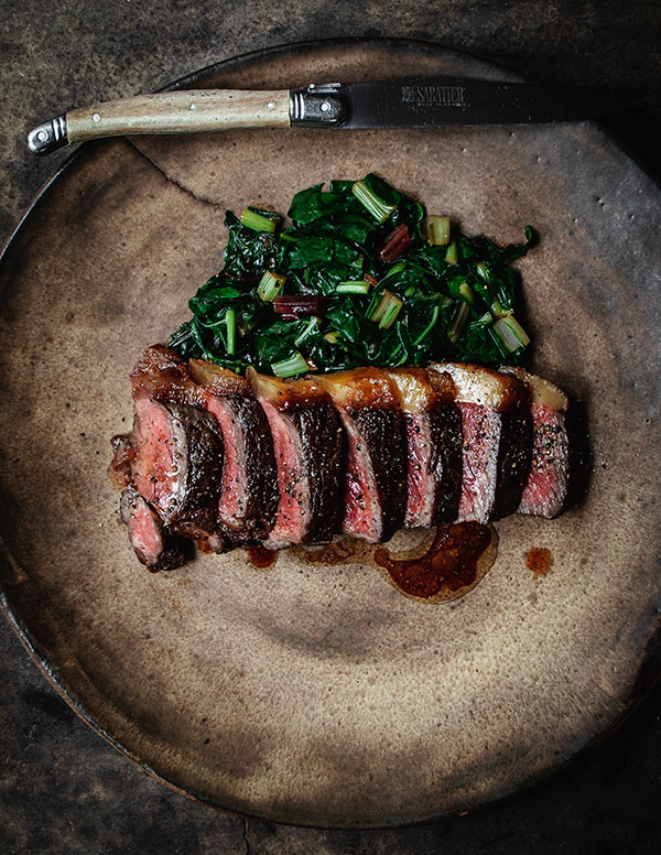new york steak with chard