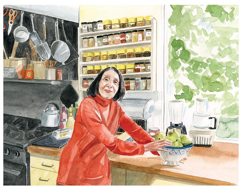 joyce goldstein in her kitchen
