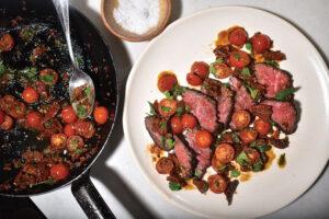 hanger steak with tomato salsa