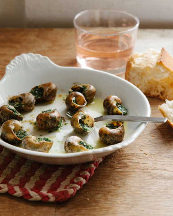 snails with garlic butter and rosé